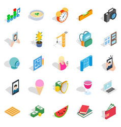 Characteristic icons set isometric style vector