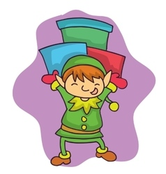 Christmas elf bring gift cartoon vector