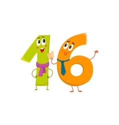 Cute and funny colorful 16 number characters vector image vector image