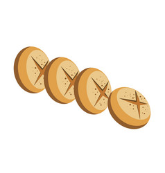 delicious round bread loaves with cross on top vector image
