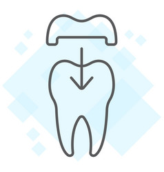 Dental crown thin line icon stomatology vector
