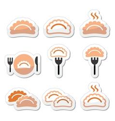 Dumplings food icons set vector