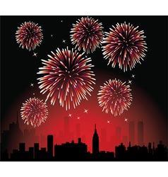 fireworks over a city vector image vector image