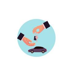 flat hands giving new car keys vector image