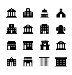 Government and public building icons vector image vector image