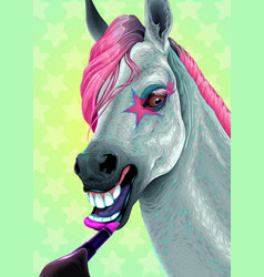 Horse is applying the lipstick on her lips vector