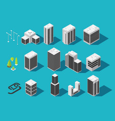 isometric city 3d building and houses with urban vector image vector image