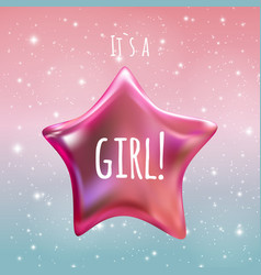 It is a girl twinkle little star on night sky vector