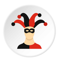 Jester with cap icon circle vector