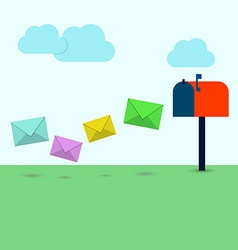 Letters in colorful envelopes flying in the vector image vector image
