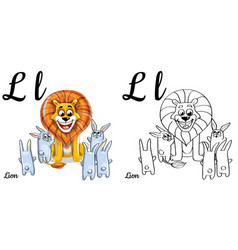 Lion alphabet letter l coloring page vector