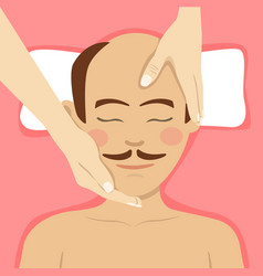 man having head massage in spa top view vector image vector image