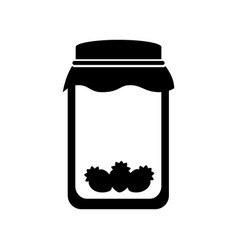 Mason jar with strawberry isolated icon vector