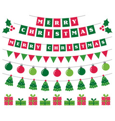 merry christmas banners and holiday decoration vector image