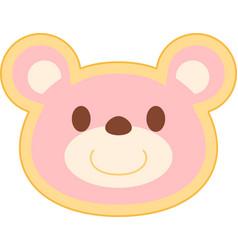 pink bear head vector image vector image