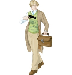 Retro boy with a gun cartoon character vector image vector image