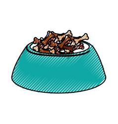 Scribble dog food in bowl vector