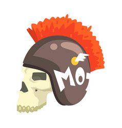 Scull in helmet with mohawk colorful sticker with vector