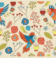 Seamless bird floral pattern wallpaper vector