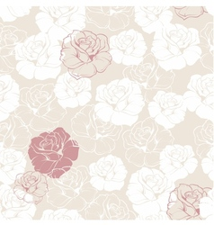 Seamless floral pattern with white and red roses vector image