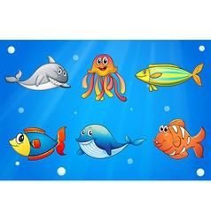 Six smiling sea creatures under the deep sea vector image vector image