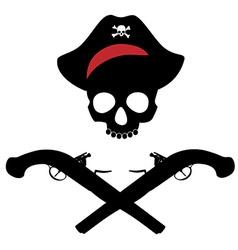 Skull and musket gun vector image vector image
