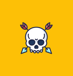 Skull with arrows icon vector