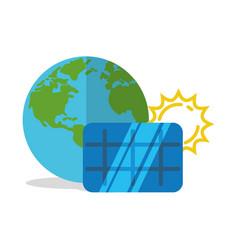 Solar panel world globe vector