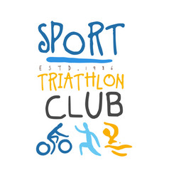 sport triathlon club logo colorful hand drawn vector image vector image