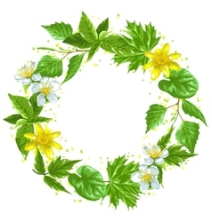 Spring green leaves and flowers Wreath with vector image
