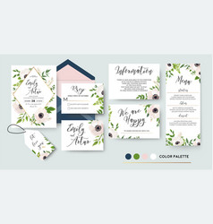 wedding invite menu rsvp thank you label save vector image