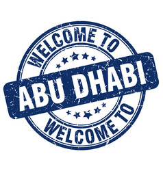 Welcome to abu dhabi blue round vintage stamp vector