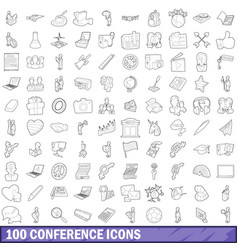 100 seminar icons set outline style vector image