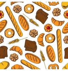 Sweet pastry and bread cartoon seamless pattern vector