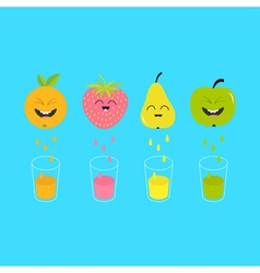 Fresh juice and glasses apple strawberry pear vector