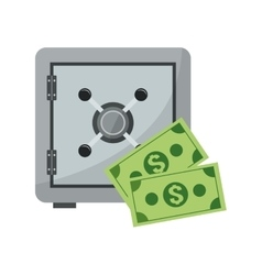 Safe box and dollar bills icon vector