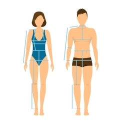 Woman and man body front back for measurement vector