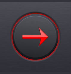 Next button round red arrow on black plastic vector