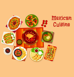 Mexican cuisine icon with taco nacho and sauce vector