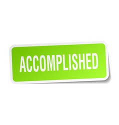 Accomplished square sticker on white vector