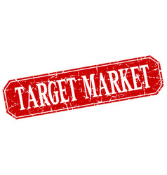Target market red square vintage grunge isolated vector