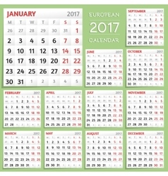 2017 Calendar Design Week starts from Monday vector image