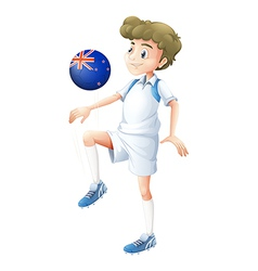 A boy using the ball designed with the flag of New vector image