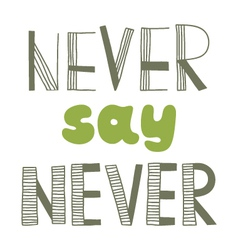 Never say never quote inspirational poster vector
