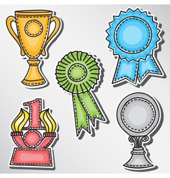 Trophies and awards set - stickers vector
