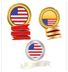 Banner gold and silver flag american vector