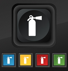 Extinguisher icon symbol set of five colorful vector
