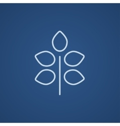 Branch with leaves line icon vector