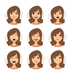 Isolated set of woman avatar expressions face vector