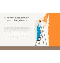 Man decorator painter painting a color wall vector